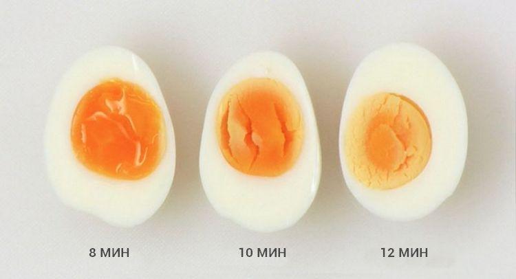 Состояние яиц после 8, 10 и 12 минут варки